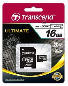 Cartão de Memória Micro SDHC 16GB Transcend Classe 10