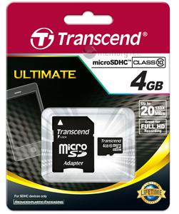 Cartão de Memória Micro SDHC 4GB Transcend Classe 10