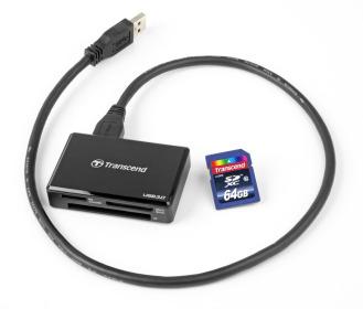 Leitor de cartão de memória Transcend USB 3.0 F8 para SDHC, SDXC, SD, CompactFlash, CF, microSDHC, microSD, MemoryStick Pro duo, MMC