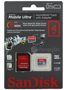 Cartão de Memória MicroSDHC 4GB Sandisk Mobile Ultra