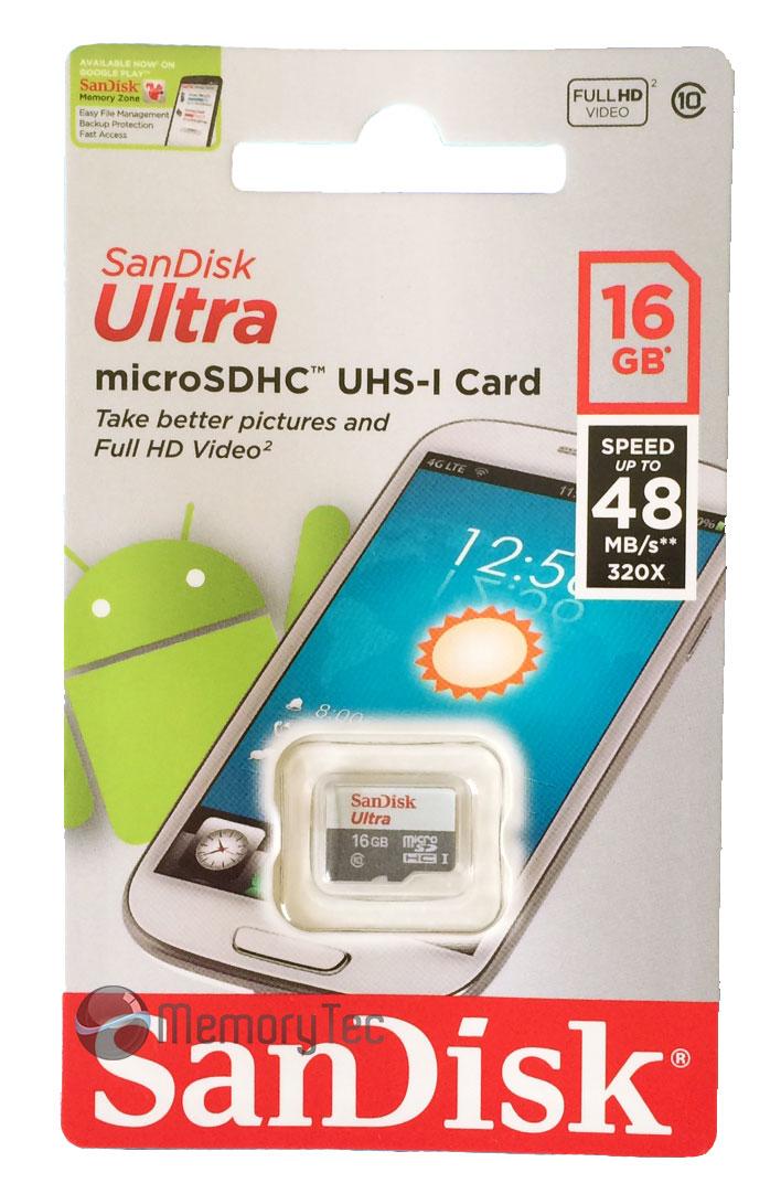 Cartão de Memória MicroSDHC 16GB Sandisk Ultra Classe 10