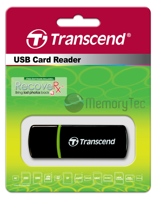 Leitor de cartão USB Transcend compacto P5 para SDHC, SDXC, SD, microSDHC, microSD, MemoryStick Pro duo, MMC