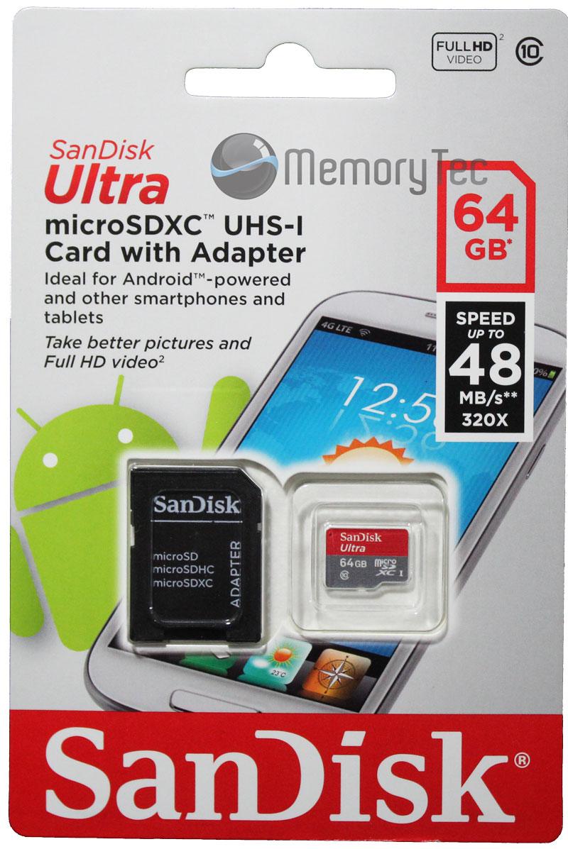 Cartão de Memória MicroSDXC 64GB Sandisk Ultra Classe 10