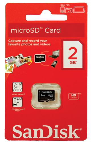 Cartão Memória MicroSD 2GB Sandisk na embalagem sem adaptador