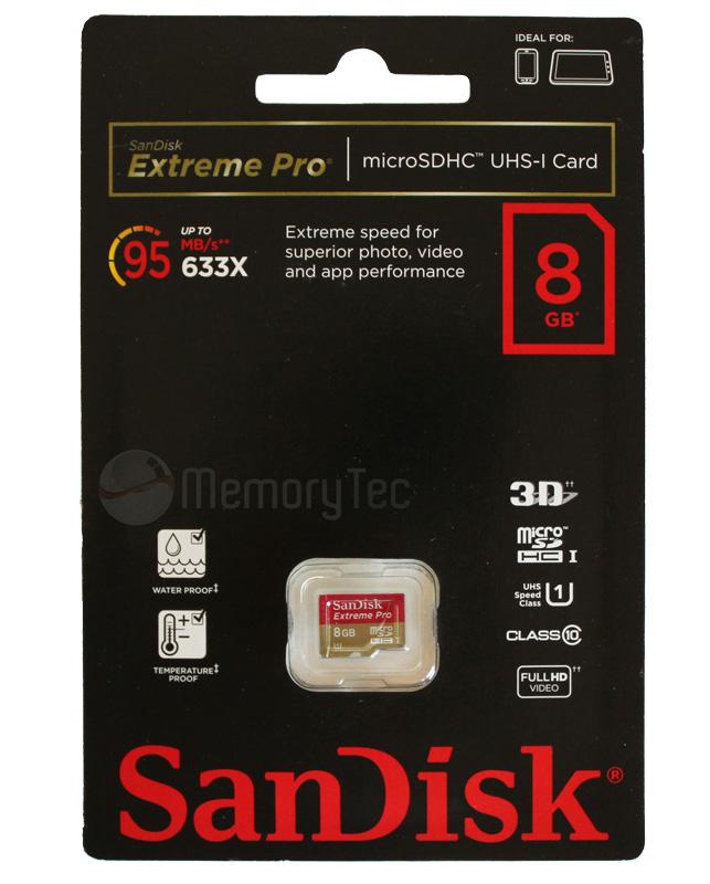 Cartão de memória MicroSDHC SanDisk 8GB Extreme Pro Classe 10 UHS-I