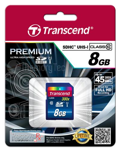 Cartão de Memória SDHC 8GB Transcend Classe 10 UHS-1- 45MB/s