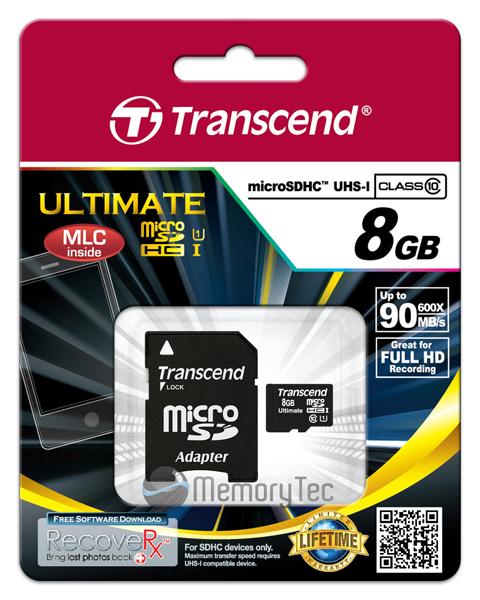 Cartão de Memória Transcend MicroSDHC 8GB Classe 10 Ultimate