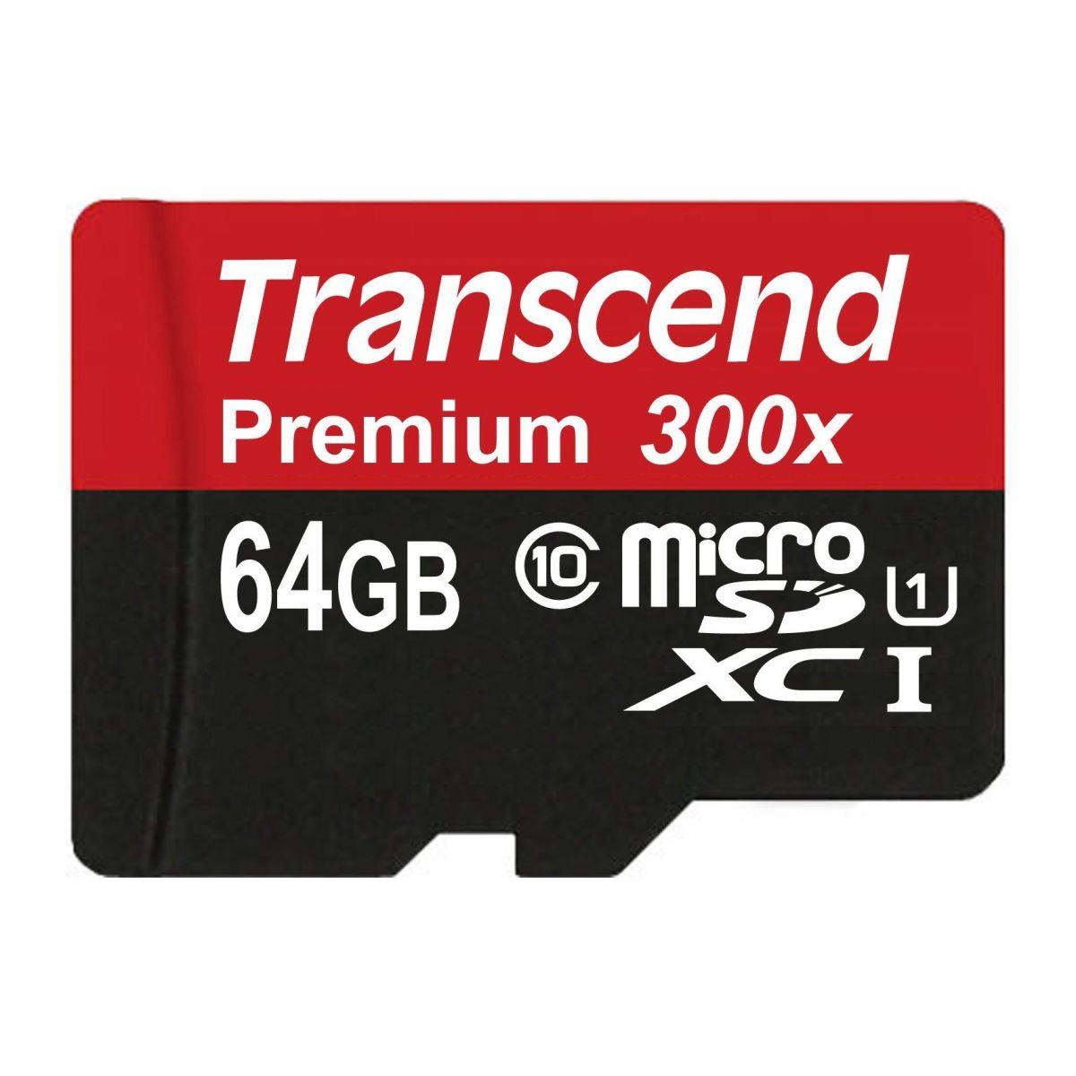 Cartão de Memória MicroSDXC 64GB Transcend Classe 10 UHS-I