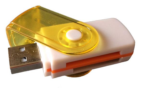 Leitor de Cartões de Memória Rotativo USB 2.0 Amarelo/Branco para SDHC, SDXC, SD, microSDHC, microSD, MemoryStick Pro duo, MMC