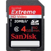 Cartão de Memória Sdhc 4GB Sandisk Extreme Classe 6
