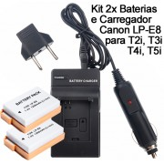Kit 2x Baterias Canon LP-E8 1200mAh + Carregador para câmera digital e filmadora Canon EOS Digital Rebel T2i, T3i, EOS digital SLR 550D, EOS KISS Digital x5