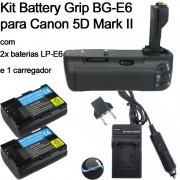 KIT BATTERY GRIP P CANON BG-E6 5D MARK II + 2 Baterias LP-E6 + 1 Carregador