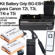 Kit BATTERY GRIP BG-E8 + 2 Baterias LP-E8 + 1 Carregador PARA CANON EOS T2i, T3i, T4i e T5i 550D/600D/650D/700D