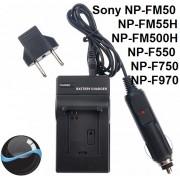 Carregador P/ Sony NP-FM50 NP-FM55H NP-FM500H NP-F550 NP-f570 NP-F750 NP-F770 NP-F960 NP-F970 QM71 QM91 QM51D Panasonic: VBD1,VBD2,VBD3/VBD815  JVC: V607U,V615U