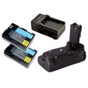 Kit Battery Grip BG-E14 para Canon EOS 70D 80D + 2 Baterias LP-E6 + 1 Carregador