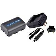 Kit Bateria + Carregador NP-FM50 para câmera digital e filmadora Sony compatível com FM30, FM51, QM50, QM51, FM70, FM90, QM71D, QM91D