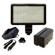 Kit Iluminador de LED Profissional LED-300 + Bateria NP-F750 + Carregador