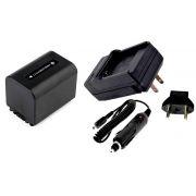 Kit Bateria NP-FV70 + Carregador para Sony HDR-XR160E, HDR-PJ50VE, DCR-SR77E, DCR-HC85E