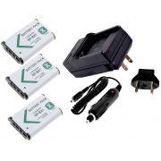 3 Baterias NP-BX1 + 1 carregador para Sony DSC-RX1, DSC-RX100M2, DSC-HX300, HDR-MV1, HDR-AS15, DSC-H400