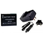 Bateria BP70A + Carregador para Samsung ES65, ES70, PL80, PL100, SL50, SL600, SL630