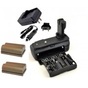 Kit Battery Grip BG-E2N + 2 baterias BP-511 + carregador para Canon 20D, 30D, 40D, 50D