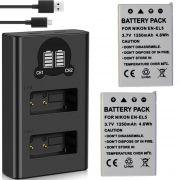 2 Baterias + Carregador Duplo EN-EL5 para Nikon