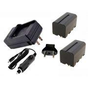 2 Baterias NP-F750 4000mAh para câmera digital e filmadora Sony + carregador Np-F770 Np-F750