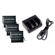 Kit 3 Baterias AHDBT-501 para Go Pro Gopro HD Hero 5 Hero 6 Hero 7 + Carregador triplo