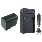 Kit 1 Bateria NP-F950/960/970 + carregador para câmera digital e filmadora Sony BC-V615 CCD-SC5 CCD-SC55 CCD-SC65 CCD-TR1, CCD-TR200 CCD-TR215 CCD-TR3 CCD-TR300 CCD-TR3000 CCD-TR3000E