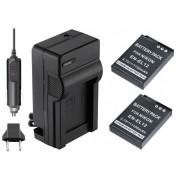 KIT 2 BATERIAs + CARREGADOR EN-EL12 para câmera digital e filmadora Nikon Coolpix S70, S610, S620, S630, S640, S710, S1000