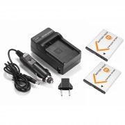Kit 2 Baterias NP-BN1 + carregador para Sony DSC-W10, DSC-WX7, DSC-T110, DSC-TX5, DSC-T99D, DSC-J10