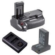 KIT BATTERY GRIP 100DH PARA CANON EOS REBEL SL1 + 2 BATERIAS LP-E12 + CARREGADOR DUPLO