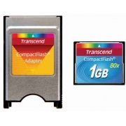 Kit CF Industrial Transcend 1GB 80 + Adaptador Pcmcia para CF