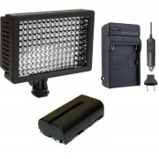 Kit Iluminador Profissional LED VL003-150 + Bateria NP-550 + Carregador