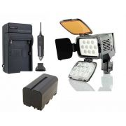 KIT LED PROFI LED-VL001A + BATERIA NP-F550/NP-F570 + CARREGADOR