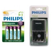 Pilha recarregável Philips AA 2300 mAh 4 unidades + Carregador