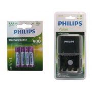 Pilha recarregável Philips AAA 900 mAh 4 unidades + Carregador