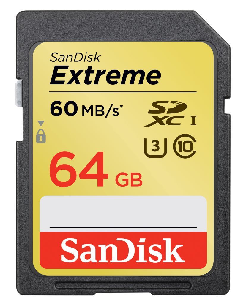 Cartão de Memória SDXC 64GB Sandisk Extreme Classe 10 60MB/s