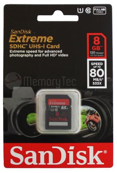 Cartão de Memória SDHC 8GB Sandisk Extreme Classe 10 80MB/s