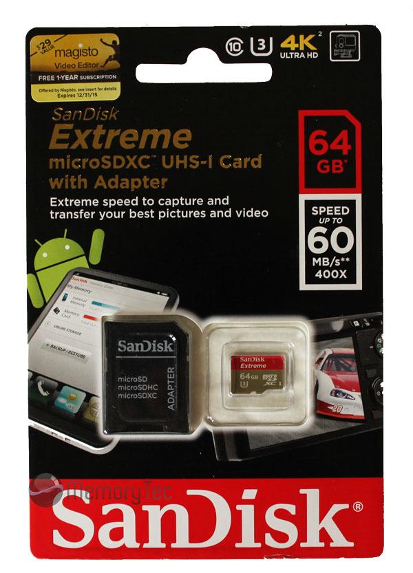 Cartão de memória MicroSDXC SanDisk 64GB Extreme Classe 10 UHS-I U3 60MB/s