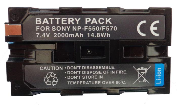 Bateria NP-F550 2000mAh para câmera digital e filmadora Sony compatível com NP-F570 e NP-F530