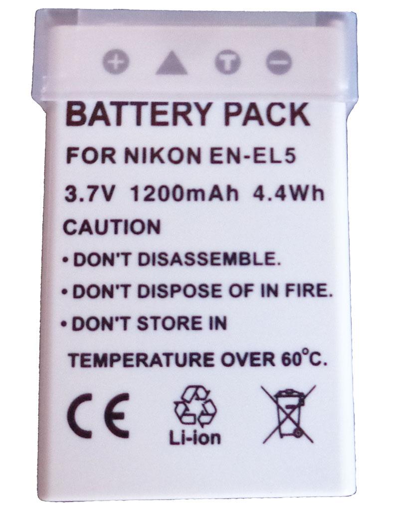 Bateria EN-EL5 para câmera digital e filmadora Nikon Coolpix 3700, 4200, 5200, 5900, 7900, P3, P4, P80, P90, P100, P500, P510, P530