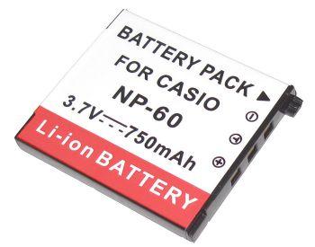 Bateria NP-60 750mAh para câmera digital e filmadora Casio Exilim EX-S10, EX-Z19, EX-Z20, EX-Z80, EX-Z85, EX-Z9