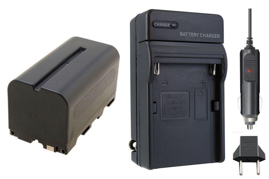 1 Bateria NP-F750 4000mAh para câmera digital e filmadora Sony + Carregador