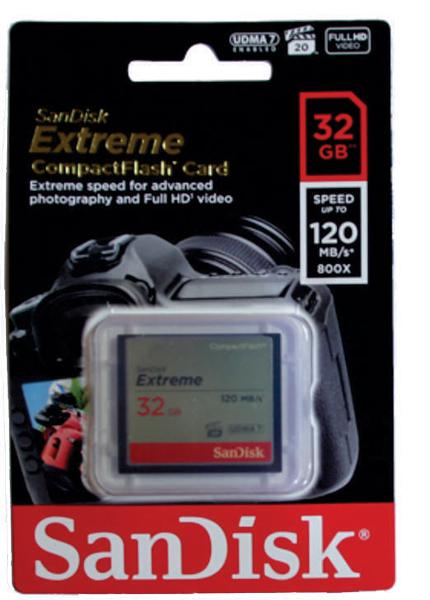 Cartão de Memória Compact Flash CF 32GB Sandisk Extreme 120MB/s