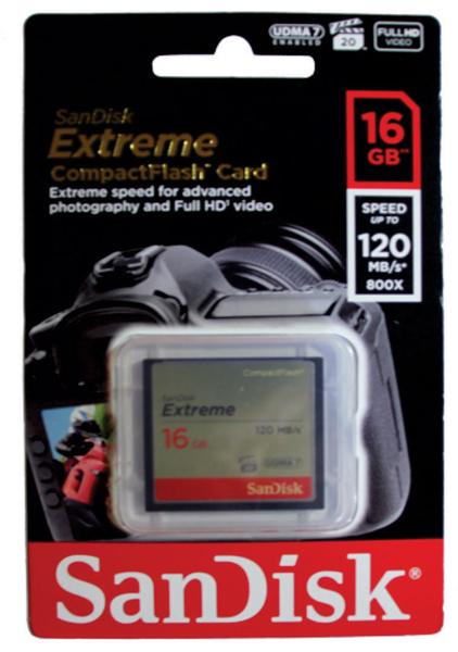 Cartão de Memória Compact Flash CF 16GB Sandisk Extreme 120MB/s