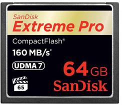 Cartão de Memória Compact Flash CF 64GB Sandisk Extreme 160MB/s