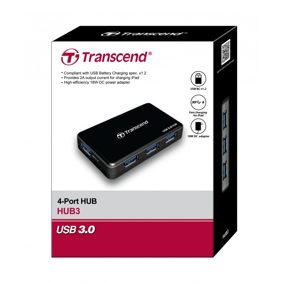 4 PORT USB 3.0 HUB TRANSCEND HUB3