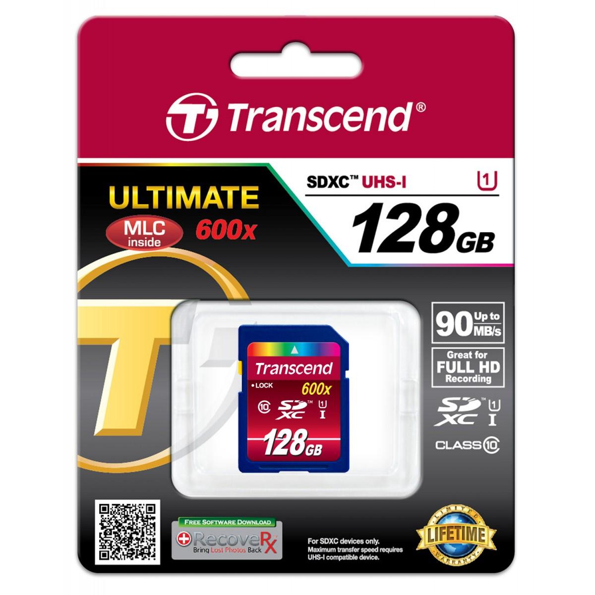 Cartão de Memória SDXC 128GB Transcend Classe 10 UHS-1 90MB/s 600x
