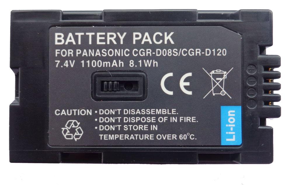 Bateria CGR-D08S para câmera digital e filmadora Panasonic NV-DS27, PV-GS2, PV-DC252, PV-DV51, PV-DV601, PV-DV800